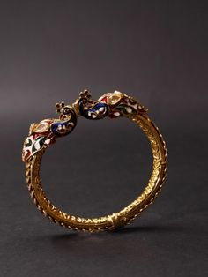 Peacock bangle - Meenakari, Kundan, Tewa