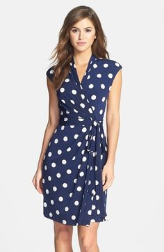 Free shipping and returns on Eliza J Polka Dot Jersey Faux Wrap Dress at Nordstrom.com. Classic polka dots amp up the playful personality of this charming jersey dress styled in an effortlessly flattering faux-wrap design that's anchored by a coordinating sash. Extended shoulders and a mock collar add a more sophisticated tone to keep the look work-ready and polished.