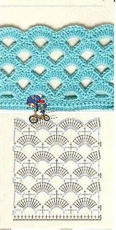 Crochet Stitches Chart, Crochet Shrug Pattern, Crochet Lace Edging, Crochet Diagram, Crochet Flowers, Free Crochet, Knitting Projects, Crochet Projects, Knitting Patterns