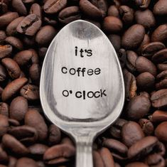 It's Coffee O' Clock - Hand Stamped Vintage Coffee Spoon #vintagecoffee #morningCoffee #Coffeedrinks