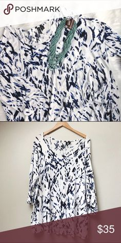 Elegant Tunic Top This tunic-length top is a step up from a regular tee, super soft and adding fun and elegance to your outfit. Blue paint-splotch pattern on a white background. Only worn once!  ✅Offers 🚫Trades 🚫Modeling Cynthia Rowley Tops