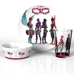 action figure tableware set with colorful, superpower graphics