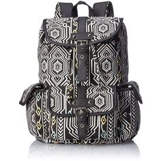 Wild Pair Aztec Printed Canvas Backpack Handbag (21.720 CRC) ❤ liked on Polyvore featuring bags, backpacks, accessories, knapsack bags, aztec bag, rucksack bag, canvas knapsack and aztec print backpack