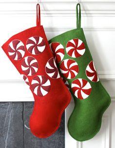 Handmade Wool Felt Christmas Stocking Celebrate by MyPerennial, $65.00