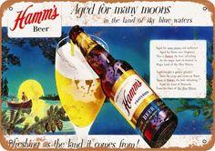 """1959 Hamm/'s Beer Rustic Retro Metal Sign 7/"""" x 10/"""""""
