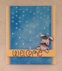 Welcome Baby Card.  Mama Elephant Stamp - Honey Bunny, The Alley Way Stamps - Gabfest, Distress Ink - Salty Ocean, Doodlebug paper - Snips & Snails, Simon Says Stamp Stencil - Falling Stars.