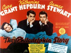 "The Philadelphia Story (1940). Cary Grant, Jimmy Stewart and Katherine Hepburn. Ah, she sure is ""yar."" Back to marrying her true love her ex-husband!"