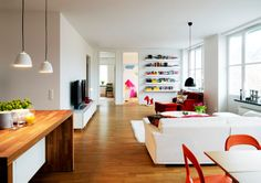 Solid workbench in bright colourful living area
