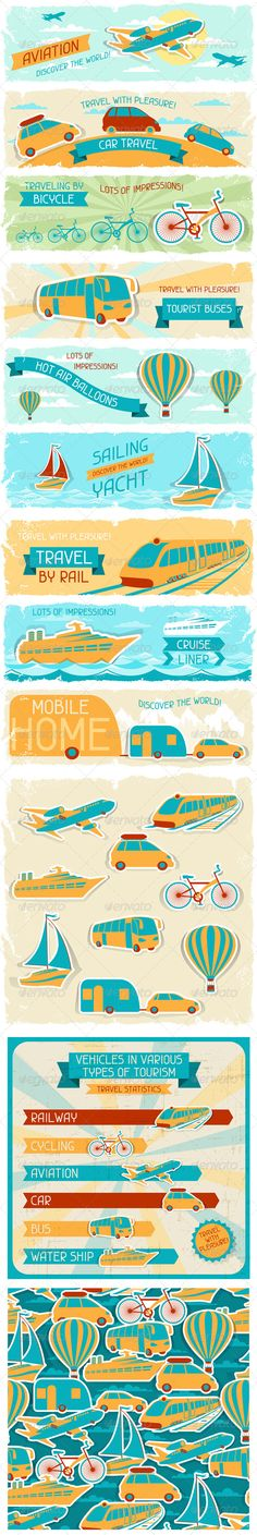 Set of Tourist Designs in Retro Style. #GraphicRiver Set of tourist designs in retro style. Zip file contains fully editable AI CS, EPS10 RGB vector files and high resolution pixels RGB Jpeg images. EPS Files made using gradients, transparency. Does not contain, blends, meshes. Files does not contain foreign objects such as outside assets, brushes, symbols, fonts, images or other resources. Objects in the files are distributed by organized layers. Contains the author's non-editable text…