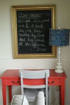 I love the colors used in the desk and chair and the placement of the chalk board