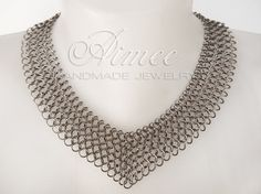 Stealth   stainless steel chainmaille necklace by AimeesJewelry
