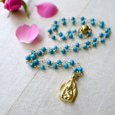 """22"""" Turquoise Beaded Rosary Necklace With Gold Vermeil #Buddha Pendant by 137point5"""