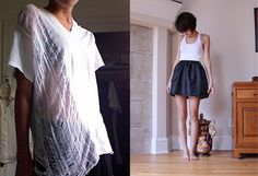 DIY Shredded Tee (http://childhoodflames.blogspot.com/2008/10/do-it-yourself-shredded-tee.html )and Puff Skirt (http://childhoodflames.blogspot.com/2008/03/puff-skirts-do-it-yourself.html )