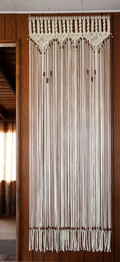 Bead Fringed Door Curtain Macrame  For a Door With Tie-Backs