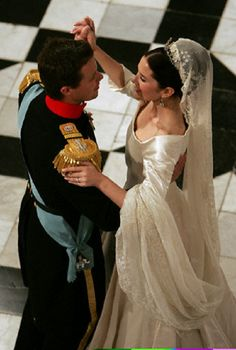 Danish Crown Prince Frederik and his bride Crown Princess Mary dance the traditional Wedding Waltz at Fredensborg palace on the outskirts of Copenhagen. Due to an old Danish tradition the Wedding Waltz has to be danced before midnight, otherwise the couple turns into a pumpkin.
