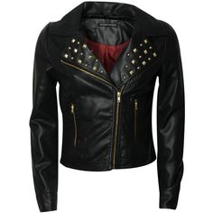 BLONDE & BLONDE Studded Leather Look Jacket ($79) ❤ liked on Polyvore