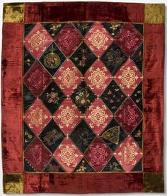 Quilt  Made by a member of the Brown family  Geography: Made in Springfield, Massachusetts, United States, North and Central America or Pittsburgh, Pennsylvania, United States, North and Central America Date: c. 1890 Medium: Silk and velvet fabrics of various colors and patterns, and embroidery in silk floss  Accession Number: 2006-106-4