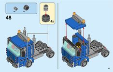 LEGO 60223 Harvester Transport instructions displayed page by page to help you build this amazing LEGO City set Lego City Sets, Lego Sets, Lego Truck, Lego Vehicles, Car Trailer, Lego For Kids, Lego Group, Lego Projects, Harvester