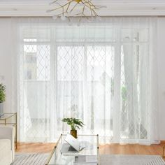 Nordic Simple Sheer Curtain Fresh Embroidery Sheer Curtain Bedroom Living Room Fabric with Diamond Geometry Pattern Living Room Drapes, Modern Curtains, Decor, Living Room Decor Curtains, Curtains, Sheer Curtains, Sheer Curtains Bedroom, Trendy Bedroom, Room
