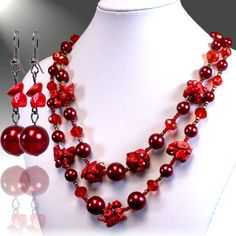 Red Necklace & Earrings