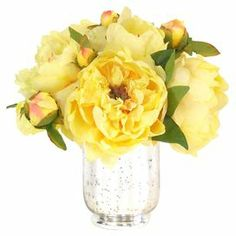 """Perfect as a charming centerpiece or a pop of color bedside, these faux yellow peonies are nestled in a mercury glass vase.   Product: Faux floral arrangementConstruction Material: Polyester, plastic, resin, and glassColor: Yellow and silverDimensions: 10"""" H x 10"""" Diameter"""