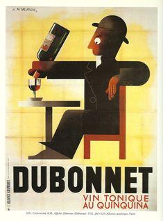 Vintage French DUBONNET advertisement poster - wine 1930s. $9.00, via Etsy.