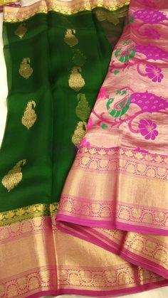Kanchi organza silk sarees with paithani pallu Kanchi Organza Sarees, Silk Sarees Online, Exclusive Collection, Sari, India, Pure Products, Blouse, Color, Fashion