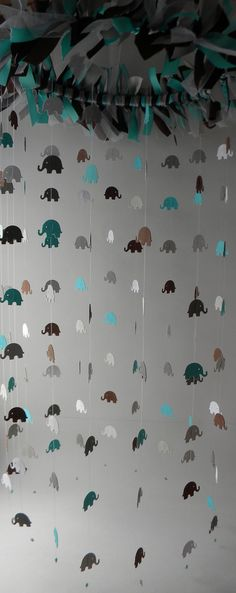 Card Stock Elephant Mobile in Teal, Brown, White and Grey, Crib Mobile, Baby Mobile, Nursery Decor