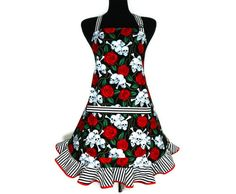 Skulls and Roses Apron, Goth Kitchen Decor with Black and White Striped Ruffle