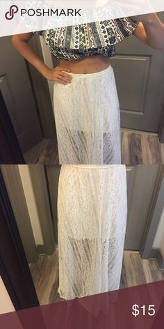 Hollister Lace Maxi Skirt NWOT lace skirt from Hollister. It is a size small. Can be bundled with the crop top shown in photo. Skirts Maxi