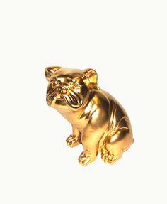 The Gold Bulldog - English Bulldog Statue - Animal Statue - Bulldog Mascot - Faux Taxidermy