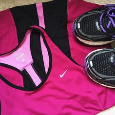 Nike Dri-Fit Pink & Black Racerback Tank Top EUC pink & black Nike Dri-Fit Racerback Tank! Like new with the exception of two small snags on the back which you can barely notice unless you're looking for them  Super bright color, great for spring activities! ✨ 100% Polyester Mesh Blend ✨ No Trades!  ❗️ but feel free to make an offer, I am willing to negotiate!  ❗️ Nike Tops Tank Tops