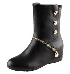 QiZHILIAN Women's Platform Casual Boots Leather (6 B(M) US) -- Check out this great product.