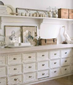 Whitewashed chest of drawers