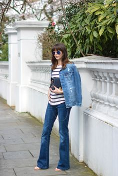 EJSTYLE-Emma-Hill-Double-denim-Spring-outfit-flare-jeans-stripe-HM-top-HM-denim-jacket-navy-bag-nude-sandals-OOTD.jpg 1,068×1,600 pixels