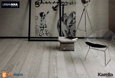Trägolv Karelia Urban Soul Concrete Grå Ek Pigmenterad Olja - 1 stav -2266 mm Urban Soul är en unik kollektion egenartade och självsäkra parkettgolv som pulserar av starka känslor och är inspirerad av stadens sträva puls och medryckande rörelse, fyllda av personlighet och möjligheter. Element i den urbana miljön har lånat ut sitt utseende och namn till parketter som du använder för att skapa ett konstverk av din bostad, ett eget utrymme där du lever i stadens varierande rytm.