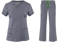 M Set - Crocs Scrubs Crossover Crystal Top & Crocs Scrubs Drawstring with Back Elastic Karla Scrub Pant in Pewter Grey(Vet Tech Surgery) Scrubs Outfit, Scrubs Uniform, Work Uniforms, Nurse Uniforms, Medical Scrubs, Nursing Scrubs, Doctor Scrubs, Uniform Advantage, Medical Design