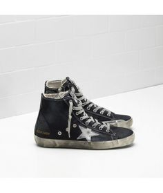 Golden Goose Francy Sneakers In Black Cotton Canvas With Laminated Leather Star Womens
