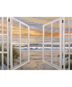 @Overstock - Feel like you live on the beach with this spectacular large canvas art. Designed to resemble an open window over the ocean, this exquisite piece can make any room feel more tranquil. The soft, neutral colors will easily blend with most décor styles.http://www.overstock.com/Home-Garden/Ocean-Window-Scene-Extra-Large-Canvas-Art/2549657/product.html?CID=214117 $119.99