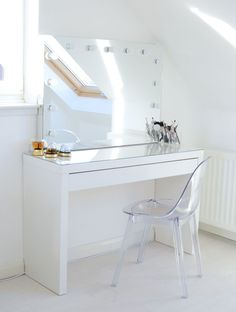 Ikea Mlam dressing table with ghost chair and Hollywood mirror
