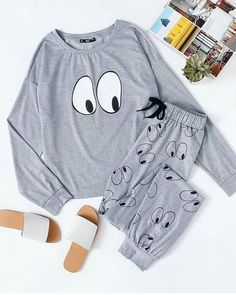 Cheap cute pajama sets, Buy Quality long sleeve pajama set directly from China pajama sets Suppliers: ROMWE Cartoon Eye Print Cute Pajama Set Women Grey Top And Sweatpants Funny Sleepwear 2017 Autumn Casual Long Sleeve Pajama Set Cute Pajama Sets, Cute Pajamas, Pajamas Women, Cute Lazy Outfits, Girl Outfits, Fashion Outfits, Mode Swag, Cute Sleepwear, Night Suit