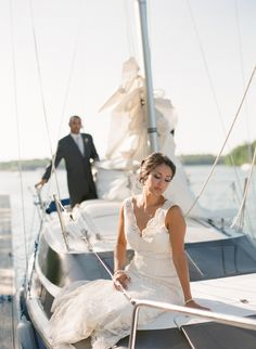 Nautical Wedding Inspiration featuring Modern Trousseau's 'Lauren' gown.