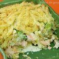 Gratin de macaronis saumon, brocolis, mascarpone