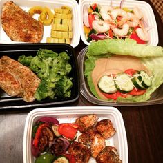 "Meal Prep Sunday Crushed!! Love having variety! @mealprepdaily @mealprepsociety @mealplanmagic @true_meals -grilled chicken and veggie kabob (off the skewer) -baked chicken and broccoli -vegan turkey sandwich lettuce wrap hummus under the ""turkey"" slices tomato cucumbers tiny sprinkle of mozzarella cheese -baked chicken and baked winter squash -shrimp and zoodles with veggies no salt added anywhere! Only whole real spices #mealprep #mealprepsunday #cleaneating #cleancooking #cleanfoods…"