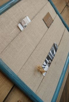 Frame with layers of burlap to hold bills, mail…could do this with any kind of fabric @ Do It Yourself Remodeling Ideas