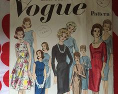 1960 60s Day Evening Dress Pattern Original Vintage Sewing Pattern VOGUE 3009 Bust 36