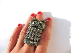 vintage ring owl double rhinestone cocktail bendable size 8 9