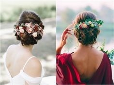 [tps_header] Today, incorporating a flower crown to an updo or loose locks is an easy way for brides to add subtle color, texture and natural beauty to a wedding day look. See the prettiest flower crowns and wedding . Deer Wedding, Wedding Hair Flowers, Wedding Updo, Flowers In Hair, Red Flower Crown, Flower Crown Hairstyle, Flower Crowns, Wedding Hairstyles For Long Hair, Diy Hairstyles