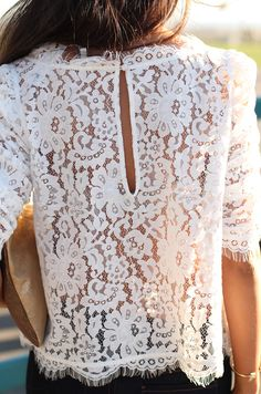 gorgeous white ivory french alencon lace top with scalloped trim / hem and three-quarter length sleeves
