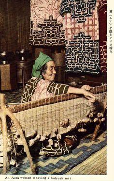 An Ainu Woman Weaving A Bulrush Mat Vintage Postcard